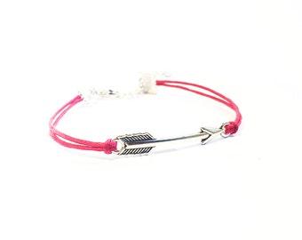 Arrow Bracelet, Friendship Bracelet, Best Friend Gift, Silver Charm Bracelet, Customised Bracelet, Gifts For Girls Bracelet, Cord Bracelet