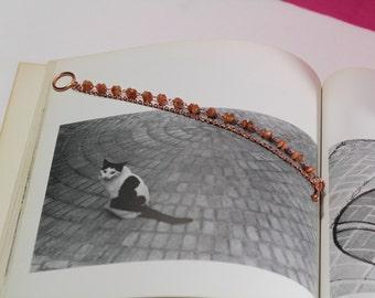 Sunstone Saucer and Shiny Copper Bracelet | Gemstone Bracelet