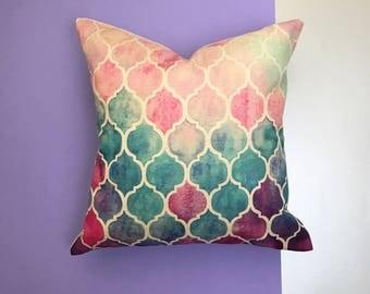 Pink and blue cushion, quatrefoil cushion, quatrefoil throw pillow, decorative cushion cover, girls cushion, bedroom decor