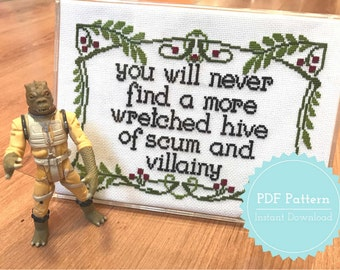 Star Wars Cross Stitch Pattern PDF Wretched Hive of Scum and Villainy