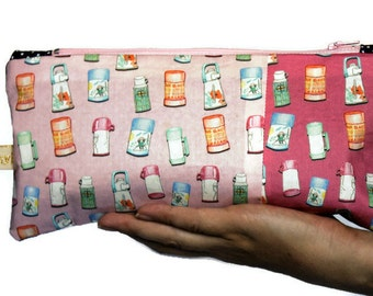 Zip Pouch Pencil Case. Thermos design by Busy Work... me.