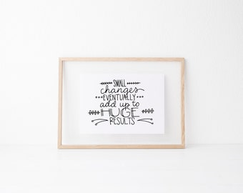 Small Changes home wall art, print, typography gift, holiday present, bedroom home decor quote, card, mom sister friend dad brother