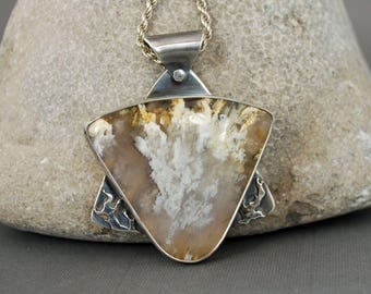 Graveyard Point Plume Agate Pendant, Silver and Agate Star of David Style Pendant  J-2179