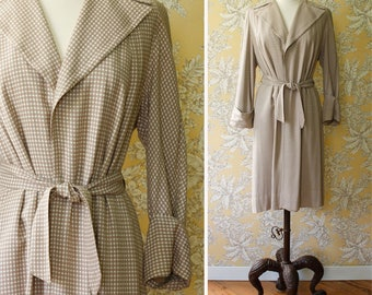 vintage 1950s raincoat <> early 1950s trench coat <> 50s all-weather coat <> tan gingham raincoat with matching rain-hat
