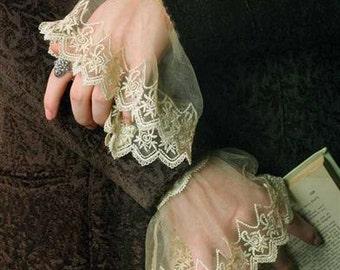 Lace Wrist Cuffs - Edwardian Costume Accessory Ivory
