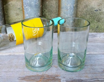 Seafoam Green Stemless Wine Glasses Created From Upcycled 750ml Bottles
