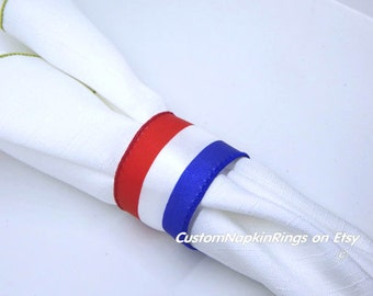 Ready to Ship. 4TH of JULY Napkin Rings Fourth of July PLAIN Napkin Rings July 4th Napkin Ring Independence Day Napkin Rings Set of 12 Plain