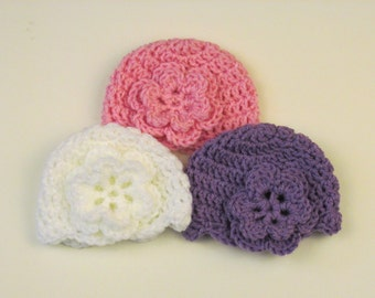 Baby Hat with flower~ Micro Preemie, Preemie, Newborn, 0-3, 3-6, 6-12 months~Pink, white, purple or mint green