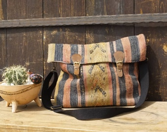 Shoulder bag - handmade from genuine leather and a Kilim