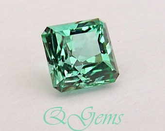 RARE TOURMALINE - 3.75 ct Sea Foam Teal Blue/Green!  Very Rare! - 8.15 mm Sq. Cut Corner Shape Similar to an Asscher Cut Gem - #Q04261116