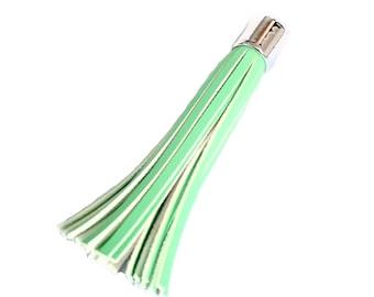 Purse Tassel - 93 mm Long Tassels - Decorative Tassels - 6 Mint Green, Silver Cap, Tassels - Key Chain Tassel - Tassels for Purses - TL-2S09