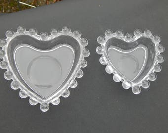 Candlewick Heart Dishes Set of 2 Stacking Trinket Bowls Ring Holder, Vintage Clear Glass Candy Bowl, Jewelry Holder, Figural Glass Dish