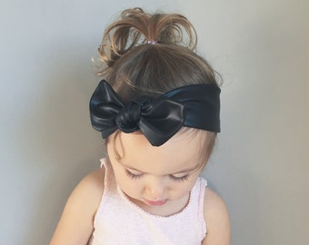 Pleather Baby Headwrap - faux leather headwrap - vegan leather headwrap