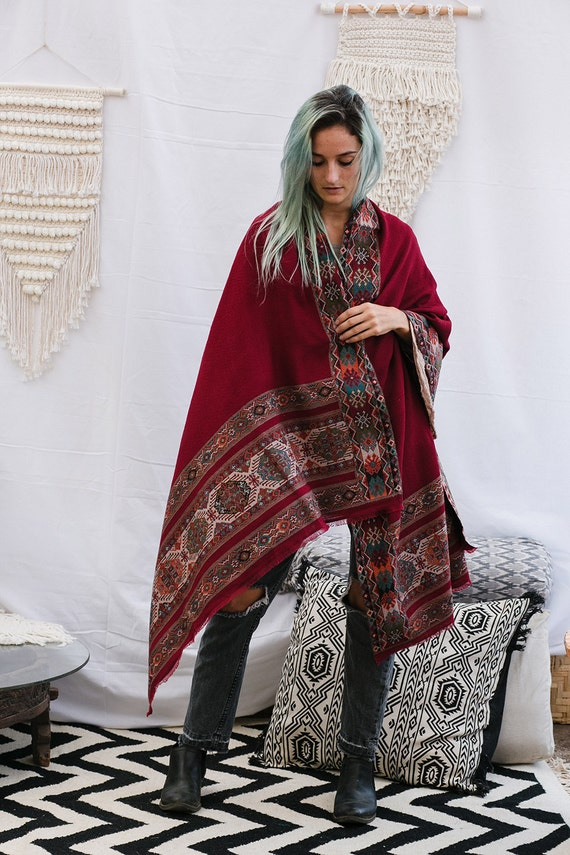 Dark Red Wool Shawl With Handmade Embroidery, Pure Wool Shawl Scarf, Winter Scarf, Indian Shawl By Hanamer
