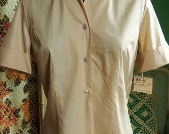 60's Button Front Short Sleeved Shirt / Cuffed Sleeves / Vintage Camp Shirt / Tan Cotton-Poly Blouse / Evan-Picone / Jelleff's New with Tags