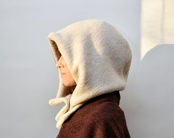 Ivory hood, hooded cowl, neckwarmer