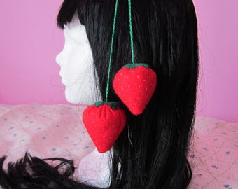 Cute, Kawaii, Strawberry, Felt, Hair Clip, Lolita, Otome, Fairy Kei, Fashion