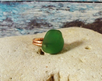 Size 8 Green Sea Glass Ring Sea Glass Jewelry Wire Wrapped Ring Mermaid Beach Glass Jewelry