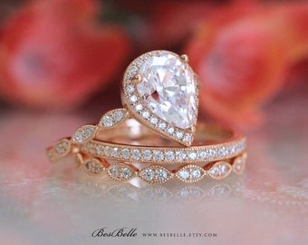 3.72 ct.tw Art Deco Milgrain Set-Pear Cut Halo Engagement Ring W/ Mixed Eternity Band Ring-Rose Gold Plated-Sterling Silver [65362RG-3-1]