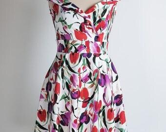 Tulip summer dress, floral dress, red purple and fuchsia dress, off-shoulder dress, mother of the bride dress, wedding guest dress