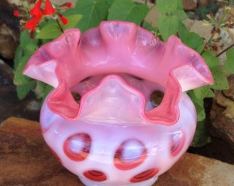 Vintage Fenton Opalescent Cranberry Pink and White Coin Dot Ruffled Vase Bowl