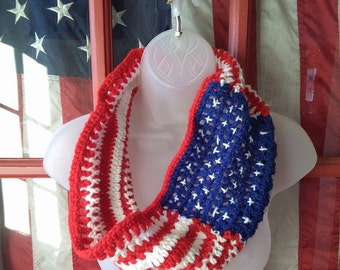 Patriotic Scarf, Red, White and Blue, American Flag Scarf, US Flag