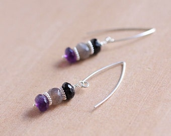 Amethyst, Labradorite and Spinel Earrings on Sterling Silver