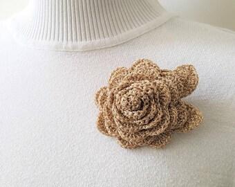 Large crochet brooch Crocheted rose brooch Large gold flower pin Crocheted flower Women brooch Flower brooch unique Crochet rose brooch