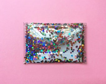 Rainbow Holographic Glitter Card Holder Wallet