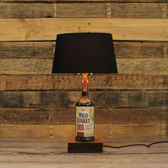 Wild Turkey 101 Bourbon Bottle Table Lamp, Authentic Bourbon Barrel Char, Reclaimed Wood Base, Full Sized Table Lamp, Whiskey Bottle
