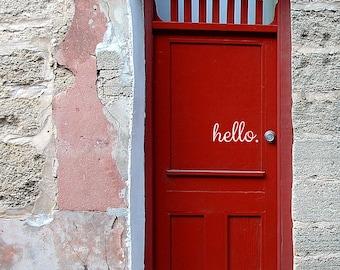 Hello Door Decal Entryway Decor Hello Vinyl Sticker Front Door Decal Hello & Hello Door Decal Door Decals Door Stickers Door Decal pezcame.com