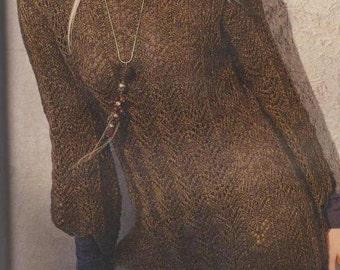 Vintage Knitting Pattern PDF Ladies Extra Long Long Sleeve Asymmetrical Hem Tunic Sweater Pullover Jumper Size 10-12 16-18 Digital Download