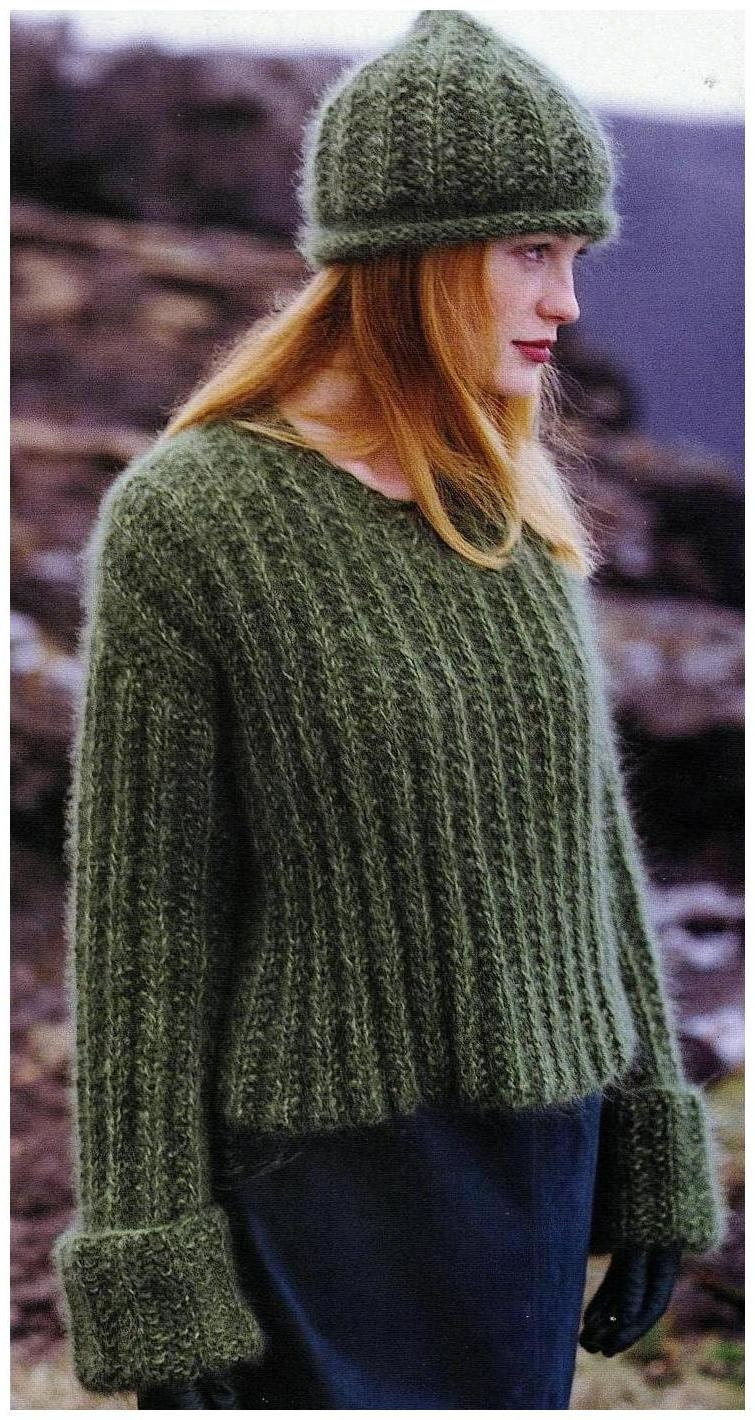 fc4980a6a683 Instant Download PDF Vintage Row by Row Knitting Pattern to make a Ladies  Big Baggy Oversize Boxy Sweater with Large Cuffs   Beanie Hat from  ickythecat on ...