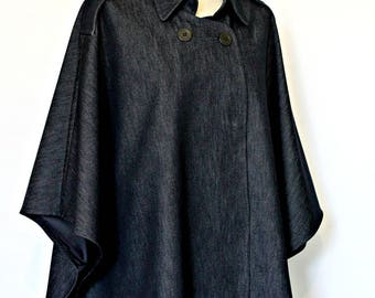 Cotton denim cape