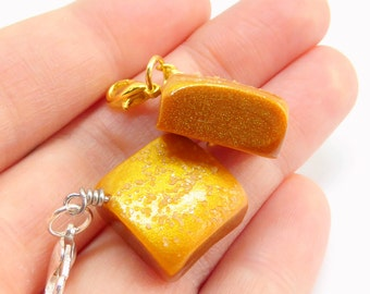 Gold Dusted Caramel Charm, Salted Caramel Necklace, Valentines Day Candy Charm, Miniature Food Jewelry, Kawaii Charms, Polymer Clay Jewelry