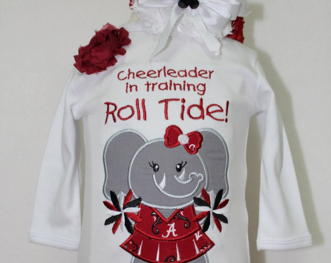 Alabama baby girl bodysuit with attached skirt, Roll Tide,Bama, Crimson Tide Elephant Cheerleader outfit for Alabama girl, Bama red headband