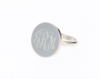 Monogram Round Ring - Personalized Round Ring - Round Ring - Monogram Ring