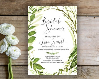 Botanical Bridal Shower Invite   Bridal Shower Printable, Tropical Bridal Shower Invitation, Leaves, Botanicals, Leaves, Greenery