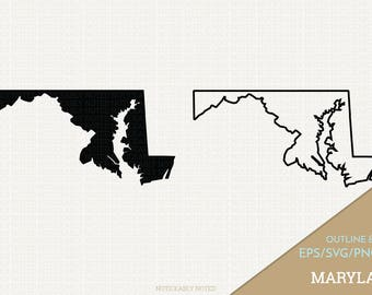 Maryland Vector, State Clipart, MD Clip Art, Maryland SVG, State PNG  (Design 13737)