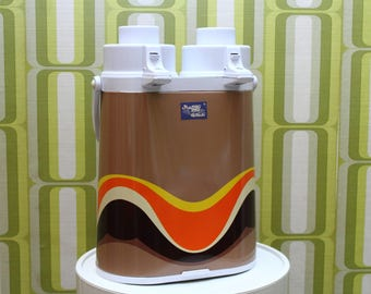 70s Double Pump Thermos - Groovy Psychedelic Wave Metal Thermos - Brown Orange Yellow Purple Waves - Vacuum Pump - BRAND NEW