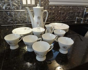 Rosenthal Mid Century Tea Set Coffee Set Rosenthal Coffee Pot with 6 Dainty Cups/Saucers and Cream & Sugar