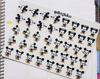 Small Mickey Mouse Disney Stickers for Erin Condren Planner, Happy Planner, many other planners, or just for fun!