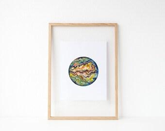 Watercolor Geode / Watercolor / Abstract Rock / Earthy / UNFRAMED 9 x 12 in Art Print / 11 x 14 in Art Print