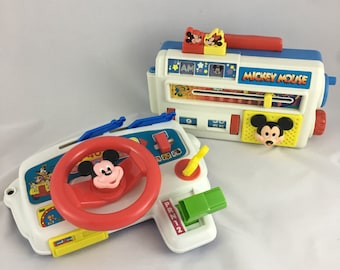 Vintage Arco Mickey Mouse carry alongs, Mickey radio, Mickey car wheel, Arco Disney toys, Mickey toy set, 80s Mickey mouse toys, 80s disney