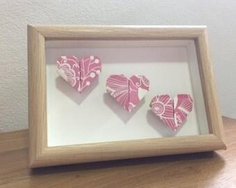 Framed hearts, heart origami, three hearts, wedding anniversary gift, paper anniversary gift, origami framed, wall decor, wall origami frame