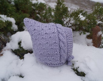 Baby Pixie Hat. Toddler hat.  Elf hat. Lilac hat.  Pixie Bonnet. Toddler Hat. Merino & Cashmere Wool hat. Hand knitted hat.