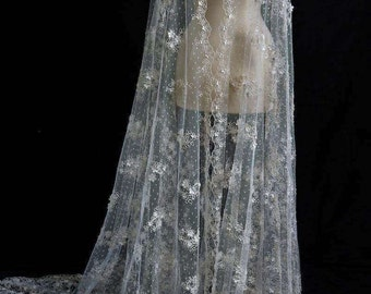 Marco Lagattolla Beaded Embroidered Tulle with Floral Appliqués