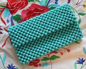 Beaded Turquoise Vintage Bag purse / Beaded Bag /Beads bag/ VintaTurquoise Bag /Aqua beaded purse/ Aqua beaded bag / beaded clutch/ aqua