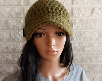 Women's green newsboy hat, women's green skater hat, brimmed winter hat, women's accessories, gifts for her, fall, winter and spring fashion