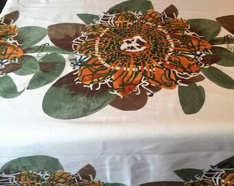 Rare Sanderson 1970s Pashonata  print fabric/lined curtain 246cm x 147cm